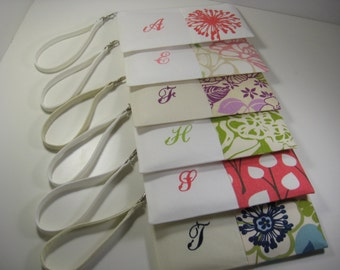 Bridesmaid Gift, Set of 9 - Embroidered Clutches - Monogrammed Clutch - Zipper Pouch - Personalized - Mother of the Bride