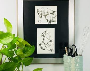 Framed Horse art original ink sketch Circus Horses - 11x14