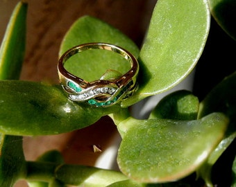SALE - Real Emerald and CZ Braid Ring - 18kt Gold Over Silver - Great gift and Free Shipping
