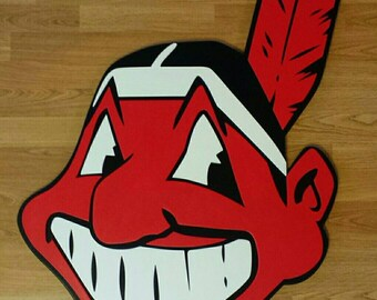 Cleveland Indians  (2 sizes)   2 feet tall and a HUGE 3 feet tall.....Multi-layered wooden wall display
