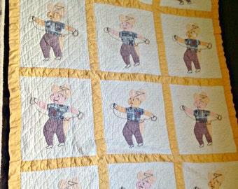 Vintage Handmade (Handstitched) Cowboy Quilt!!