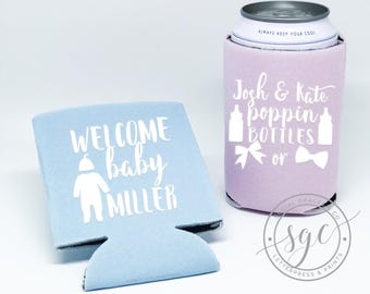 Baby Shower Can Coolers | Personalized Can Coolies | Monogram Beer Sleeves | Can Insulator | Baby Party Favors | Made to Order Gifts