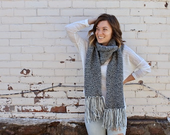 Knit Wool Scarf with Fringe | Open Ended Scarf