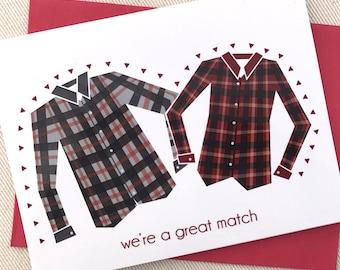 Valentines Day Card -  We're a Great Match Flanneltine Valentine Card - Matching Flannel Shirt Valentine