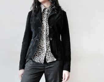 VINTAGE S Size Black Velvet Jacket Black Corduroy Jacket Black Button Down Jacket Black Velveteen Jacket Black Corduroy Button Down Jacket