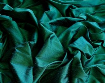 "Iridescent Dark Spring Green Dupioni Silk, 100% Silk Fabric, 44"" Wide, By The Yard (S-191)"