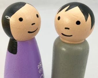 Peg Doll Pair - Dollhouse Parents - Light Skin Tone - Peg Doll Parents - Peg Doll Couple - Large Peg Dolls - Wooden Peg Dolls