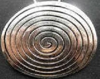 Large pendant spiral ellipse silver-plated 47mm