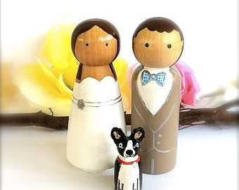 Custom Wedding CakeTopper With Pet Dog or Cat Wedding Toppers Wedding Cake Toppers with Animal Family of 3