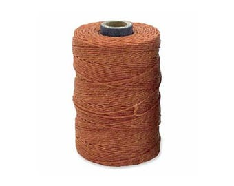 Irish Waxed Linen Thread Lt Rust 43691 (50gr, 100yds), Rust Brown Crawford Irish Waxed Linen Cording, 4-Ply Waxed Linen, Linen Jewelry Cord