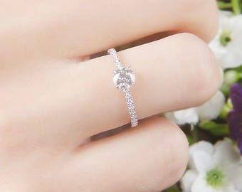 0.2 carat diamond Engagement Ring with accent diamonds , Diamond Wedding Ring, Bridal Ring Wedding ring Set