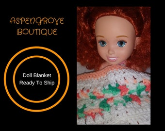 Doll Afghan bedding blanket handmade crochet ready to ship