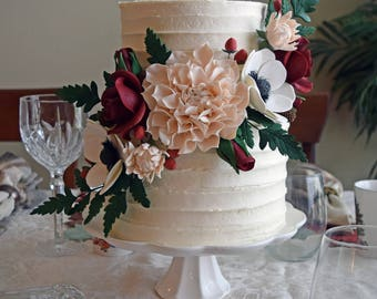 Blush and Burgundy Sugar Flower Arrangement Cake Topper including Dahlias, Anemones, Roses, and Fern Leaves