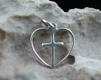 Heart Cross Necklace First Communion Religious Easter Gift Personalized Spiritual Easter Jewelry Sterling Silver Charm Vintage Art Deco L043