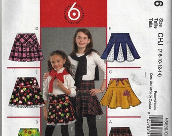 McCall's #M5696 Sz 3-6  Children's/Girls' Pleated or Flared Skirts Uncut Factory Folded