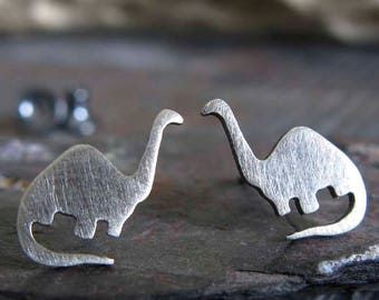 Dinosaur earrings handmade studs brontosaurus jewelry. Sterling silver, 14k gold-filled or solid 14k gold. Reptile little girl posts