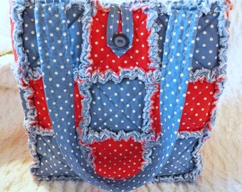 Red White and Blue Polka Dot Rag Quilt Tote - Handmade - Gift For Her - Rag Quilt Handbag