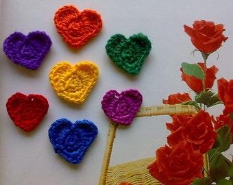 7 Colors of Rainbow Crochet Heart Embellishments Appliques
