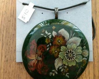Vintage Floral Fused Glass Pendant