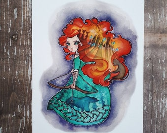 Brave - 5x7 Inch Art Print inspired by Princess Merida from the movie Brave