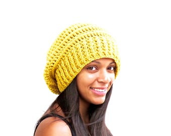 Crochet Slouchy Hat, Tam Hat , Hippie Hat, Oversize Hat, Color is Mustard,