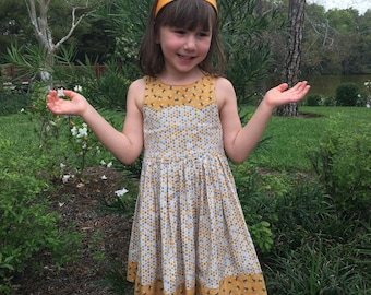 Bee and honeycomb dress for girls
