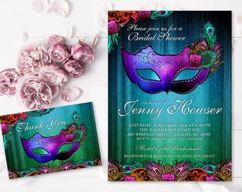 Masquerade Bridal Shower Bachelorette Printable Invitation Peacock Mask Bridal Shower Invitation Masquerade ball Feather Mask Roses Flowers