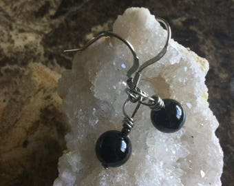 Black tourmaline earrings, stainless steel earrings , surgical steel earrings