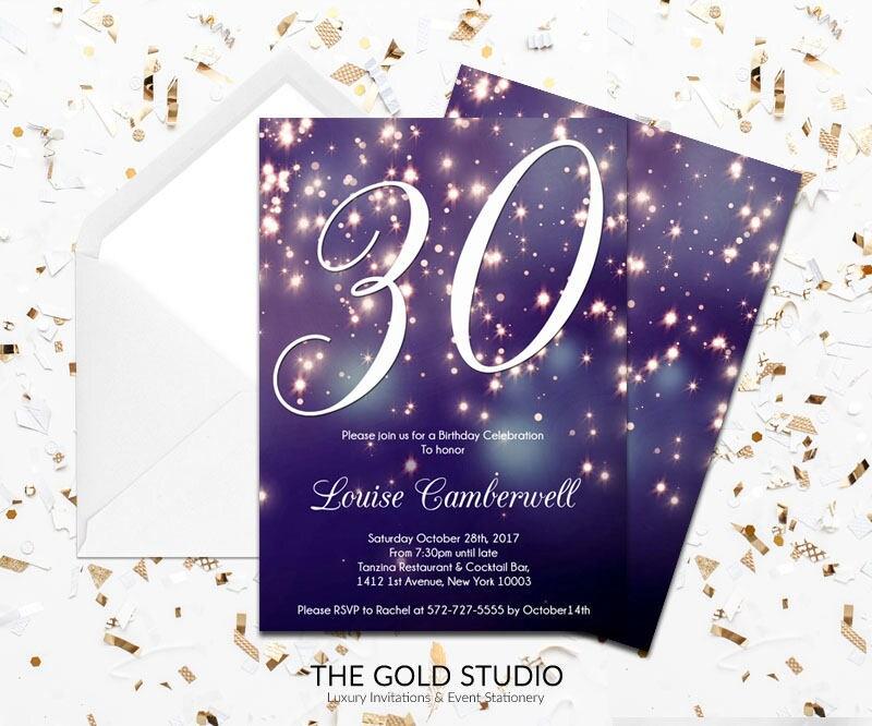30th Birthday Invitation | Blue Purple Sparkle Glamorous modern 30 ...