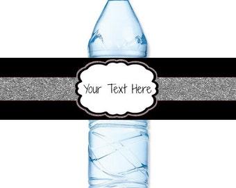 INSTANT DOWNLOAD - Silver Glitter Black Water Bottle Label Birthday Baby Bridal Wedding Shower - You Print