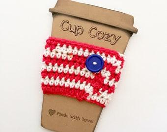 Coffee Cozy / Crochet Coffee Sleeve / Tea Cozy / PatrioticCup Cozy / Coffee Mug Cozy / Coffee Lover / Birthday Gift / Gifts for Women
