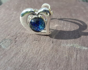 Sparkling Blue Heart Ring, Valentine Present for Wife, Girlfriend Gift, Bridesmaid Token, Sweetheart Silver Plated Adjustable Ring