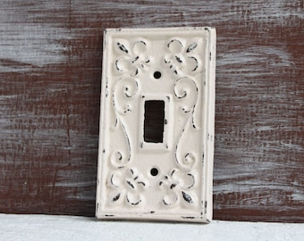Light Switch Cover, Beige Ivory Light Switch Plate, Cast Iron Metal Fleur de lis Single Switch plate cover, Cottage Chic Electrical Cover