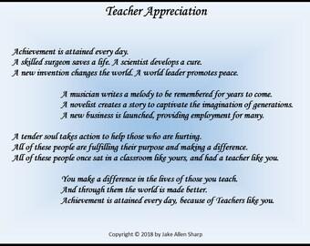 "Teacher Appreciation Print 5"" x 7"""