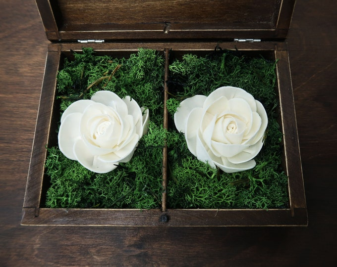 Love Wedding rings box vintage frame love wedding pillow rustic looking old moss sola flowers shabby chic off white pink hearts distressed