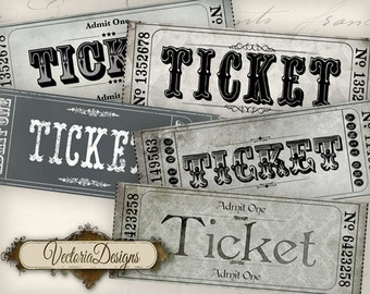 Printable Vintage Tickets Strips admit one coupon printable hobby crafting digital graphics instant download digital collage sheet - VD0756