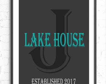 Lake House Print, Personalized Wall Art, Last Initial Print, Lake House Decor, Personalized Lake House Gift, New Lake House Gift