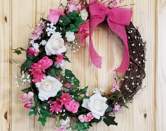 Spring Wreath, Pink Wreath, Summer Wreath, Mother's Day Wreath