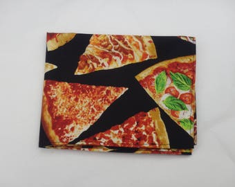 "Pizza Bandanna, Black Pizza Bandana, Large Bandanna, Pizza Clothing, Jumbo Bandana (21"" Square)"