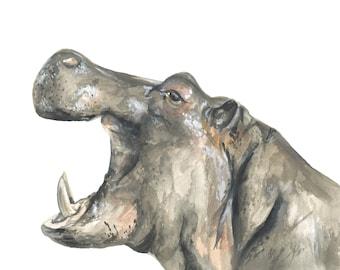 Hippopotamus art, Hippopotamus watercolor, Hippo nursery art, Hippo art print, Hippo watercolor painting, Hippopotamus