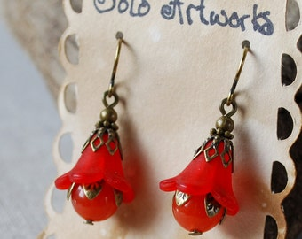 Red and Orange Vintage Styled Floral Earrings