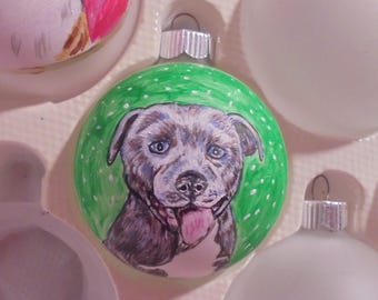 original hand painted pet portrait on a wood or glass bulb christmas tree ornament dog cat bird horse rabbit lizard