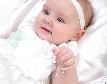 Baptism or Christening Bracelet - Infant Newborn Baby Little Girl Bracelet - Girl Baptism Gift - Girl First Communion Gift - Confirmation