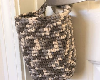 Hanging Basket, Doorknob Basket, Crochet Basket in Grey Clay