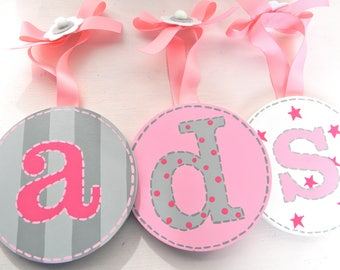 Round Wall Letters-hand painted wall letters-wall letters for nursery-wooden wall letters