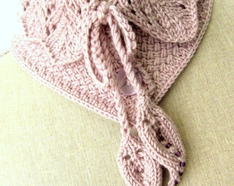 SALE Women Wool Lace Knit Collar Scarf  - Victoria Collar Scarf - Light Lavender/Lilac Sz. Small