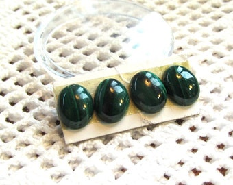 Natural Green Malachite 9x7mm Cabochons Parcel of Four