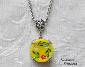 Flower Waltz-Sunny Day, Vintage German Glass Button Necklace