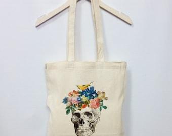 Skull Flowers Tote Bag Bird Cotton Canvas Shopper Bag