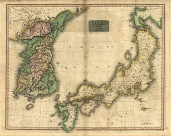 Map of Korea as Corea and Japan; Thomson's New General Atlas 1815